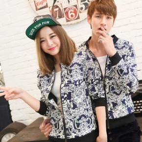 新款韩版个性男女秋冬装修身花色夹克外套情侣装上衣一件代发