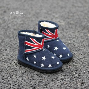 2014冬款  韩版时尚米字 男童女童小童儿童雪地靴棉鞋童鞋