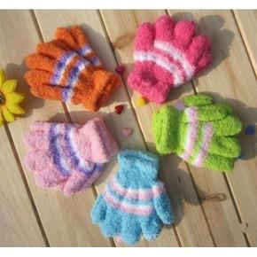 儿童半边绒手套/珊瑚绒手套 加厚毛巾保暖儿童魔术手套加厚