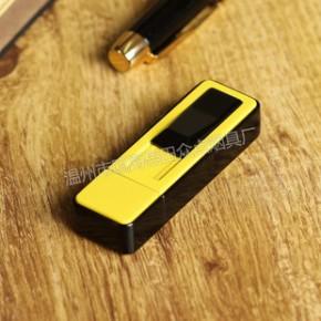 畅销  精美黄黑拼色打火机  推动式电子点烟器  简约款  USB充电