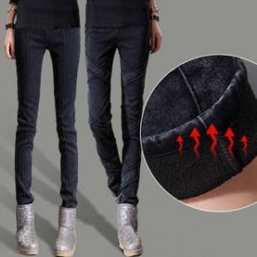 2014冬装新款女裤 韩版修身显瘦加厚小脚裤 加绒铅笔裤