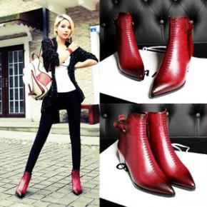 2014新秋款欧美漆面牛皮橡胶底粗跟女短靴 真皮时尚女鞋 一件代发