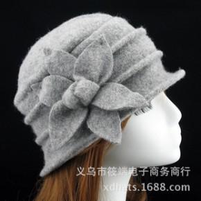 六角花盆帽礼帽 冬季女帽优雅渔夫帽中年帽纯羊毛呢妈妈帽子