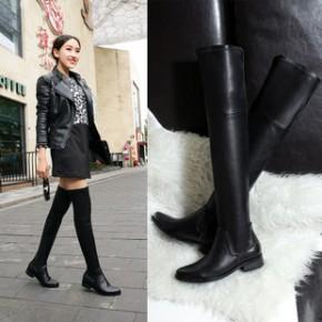2014欧美女鞋站简约风格 尖头纯色低跟鞋全牛皮长靴 优质短绒女鞋