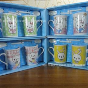 创意可爱兔配匙杯 咖啡杯陶瓷马克杯 牛奶杯 唯美对杯 可定制logo