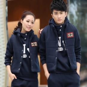 秋冬新品韩版套装加厚套头卫衣三件套 休闲情侣运动套装