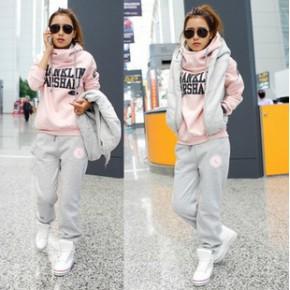 秋冬装韩版女装休闲长裤子马甲运动套装卫衣三件套加厚
