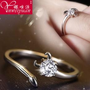 韩国十二星座s925纯银戒指女士开口锆石复古欧美情侣指环戒子
