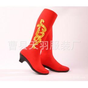 女式舞蹈长靴高弹力靴高筒舞蹈靴蒙古族藏族舞蹈靴演出花边靴