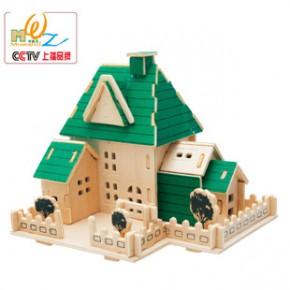3D082别墅立体拼图 益智拆装木制儿童玩具 热卖地摊 亲子教育