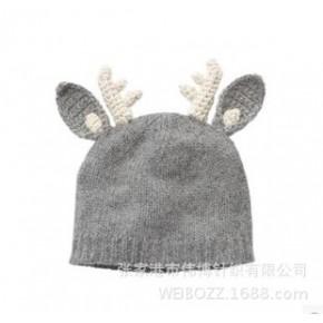 外贸原单E.mirreh兔羊毛圣诞麋鹿针织帽 秋冬儿童潮款帽子