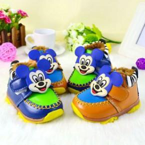 2014冬新款韩版拼色宝宝学步鞋 婴儿鞋防水保暖舒适 萌可爱米奇鼠