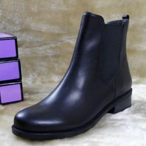 欧美平底外贸真皮短靴冬加绒女靴平跟马丁靴头层牛皮大码冬季靴子