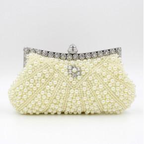 2015欧美新款镶钻晚宴包珍珠手拿包 珠绣晚装包新娘包外贸