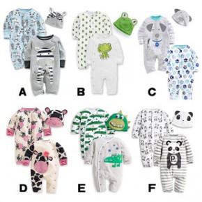 秋冬款婴幼儿哈衣二件套 欧美爬服  婴儿套装卡通纯棉连身衣