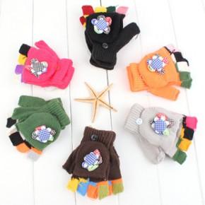 S051厂家直销 糖果色花朵儿童翻盖手套 冬季针织保暖露指手套