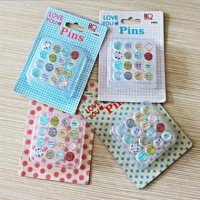 韩国文具创意 清新世界滴塑图钉创意彩色滴胶盒装图钉16枚入