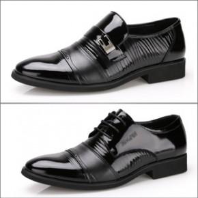香港老头 头层牛皮商务休闲皮鞋 真皮亮皮男鞋 新郎正装板鞋