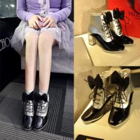 欧洲站小香专柜同款短靴 拼色真皮蝴蝶结马丁靴 女鞋代理一件代发
