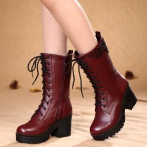 伊蒂卡诺2014新款秋冬季女靴真皮厚底粗跟中筒靴子马丁靴女机车靴