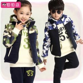 童装冬款套装 中大男女儿童迷彩纯棉加厚大卫衣马甲三件套代发