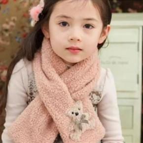 2014入冬新款日系可爱儿童羊羔绒围巾女童兔子围脖