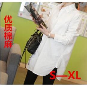 2014秋装新款女白衬衫韩版宽松大码女棉麻长袖上衣
