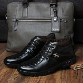 男士办公室冬装鞋休闲头层牛皮男鞋加棉加绒保暖棉鞋