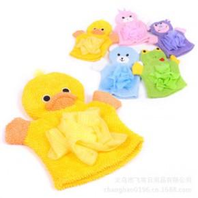 飞穹百货批发家居用品 沐浴搓澡手套/搓澡巾 带浴花加厚搓澡手套