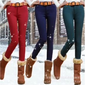 加绒铅笔裤2014冬新款韩版加绒裤加厚保暖小脚牛仔裤弹力女裤