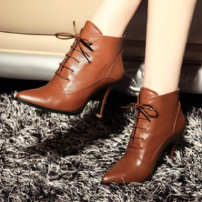 14欧美范冰冰同款皮靴尖头高跟真皮女鞋套脚女靴系带中跟马丁靴