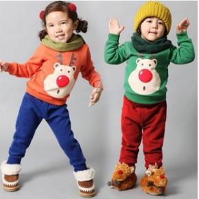 爆款秋冬款 外贸抓绒韩版男童女中小童童装 批发 男童套装
