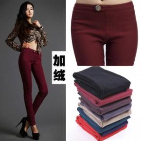冬季加绒加厚打底裤 新款摇粒绒高弹力小脚裤 韩国时尚铅笔裤