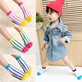 童趣 春款彩条童袜纯棉男女大中小童袜子批发 全棉儿童袜子
