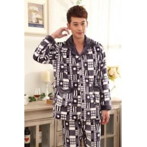 秋冬季新款男士睡衣批发加厚珊瑚绒男装家居服法兰绒保暖休闲套装