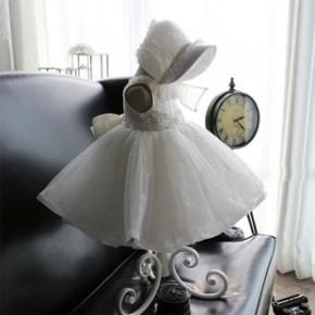 儿童装公主裙婚纱礼服 花童礼服 白色女童礼服裙白雪公主蓬蓬裙女