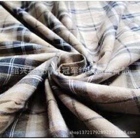 E07 库存质朴格子咖啡色纯棉薄柔软布料