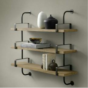LOFT简约现代美式隔板架 实木壁挂架 仿古书架 墙壁置物架