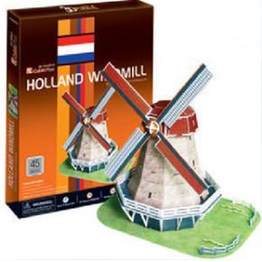 乐立方 3d立体拼图建筑模型 仿真模型荷兰风车立体C089h