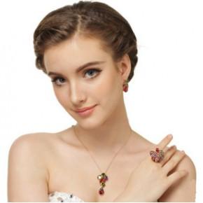 欧美新款奢华蒙娜丽莎水晶锆石项链耳环套装厂家直销 新娘饰品