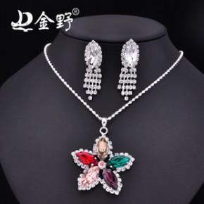 韩国甜美红花首饰两件套装 晚宴新娘饰品套装