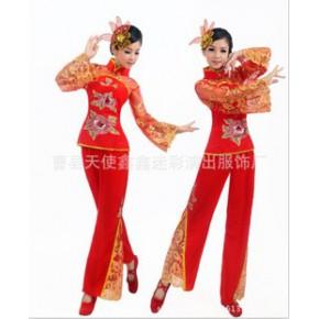 秧歌服新款现代广场舞中老年秧歌扇子腰鼓舞蹈服装红纱秧歌服