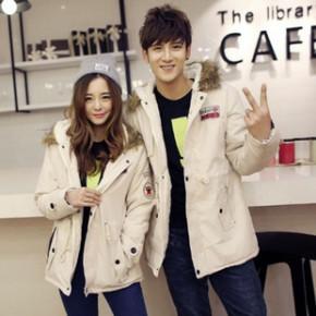 2014冬季新款韩版情侣装棉衣修身加绒加厚连帽外套