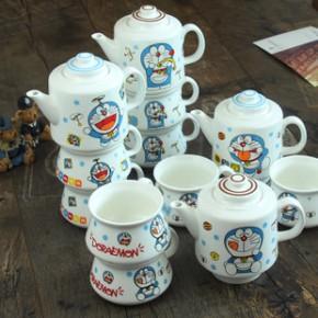 zakka杂货杯子 创意陶瓷咖啡杯具套装 叮当猫杯壶三件套卡通水杯