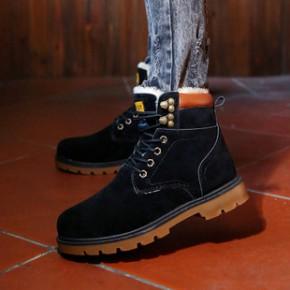 冬季新款马丁靴批发韩版加绒雪地棉鞋保暖英伦高帮板鞋男一件代发
