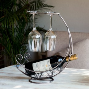 欧式创意红酒架时尚酒杯架 铁艺葡萄酒架子海盗船月亮船酒瓶架