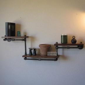 美式复古创意水管书架 实木做旧隔板置物架 壁挂搁物架 loft工业