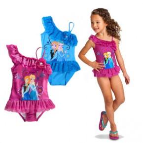 2015夏季外贸爆款frozen女童卡通冰雪奇缘蕾丝花边儿童泳衣童装