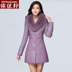 新款PU皮羽绒棉服女中长款狐狸毛领修身外套 皮衣女棉衣