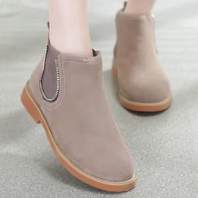 2014冬季新款欧美真皮短靴磨砂牛皮裸靴平底平跟女靴子单靴骑士靴